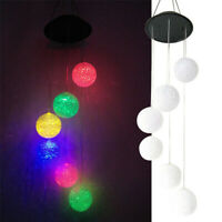 Solar Color Changing LED Ball Wind Chimes Home Garden Yard Decor Light Lamp US