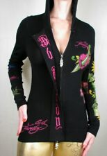 Ed Hardy Hoodie Zip-Up Hoody Sweater New Rhinestone Black Geisha, XS