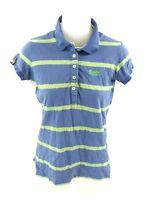SUPERDRY Womens Polo Shirt XS Blue Green Cotton