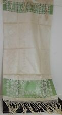GORGEOUS VINTAGE ANTIQUE HAND WOVEN LINEN SHOW TOWEL WITH HAND TIED FRINGES OO91