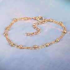 Gold Double Chain Anklet Ankle Bracelet Barefoot Beach Foot Sandal Jewelry N98b