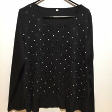 Womens Black & White Polka Dot Pullover Top Plus Size 2XL Stretch Long Sleeves