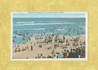 MA Salisbury Beach 1908-29 antique postcard WATCHING THE BATHERS MASS
