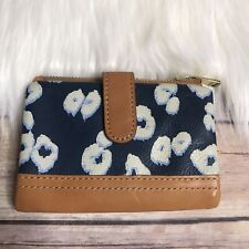 Fossil Navy Blue Brown Leather Cheetah Animal Print Wallet Card Slot Zipper