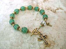 Natural Green Jade Crystal Antique Gold P Rosary Bracelet