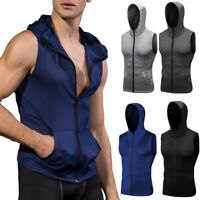 Mens Fitness Tank Tops Hooded with Pockets Full Zip Up Running Gym Shirt Dry fit