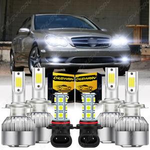 LED Headlight High/Low Beams+Fog Light Bulbs For Mercedes-Benz C230 2002-2007