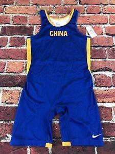 Nike China Team Savage Wrestling Singlet Men's Large Blue Yellow