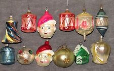 ~Antique Mercury Glass Christmas Ornaments Unsilvered Indented Balloon Elf Head~