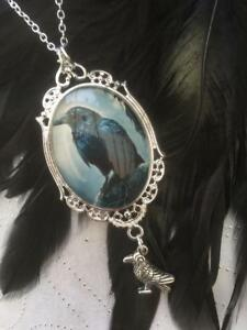 Gothic Raven Large Pendant Necklace Black Statement Wicca Crow Bird Pagan Viking