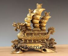 """12"""" Chinese Brass Copper Dragon Sailing Boat Return Fully Loaded Fengshui Statue"""