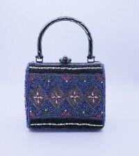 Vintage Beaded Evening Bag Intricate Multi-Colored Design Dark Tone