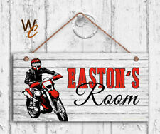 Dirt Bike Sign, Personalized Kid's Door Sign, Kid's Name, Sports 5x10 Sign, Red