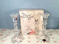 """American Crystal Collection Two 8"""" Crystal Candlesticks 24% Fine Lead Crystal"""