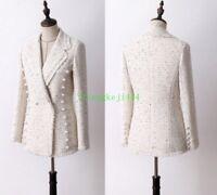 Occident Womens Milky White Pearls Mid-Lenght Tweed Jacket Slim Wool Coat New N1