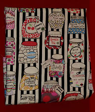 1 metre cotton poplin with jars of sweets on a black and white striped ground