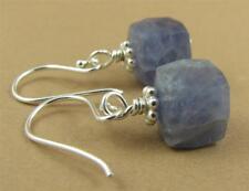 Iolite earrings. Light blue gemstones. Sterling silver. Square/cube. Handmade.
