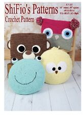 CROCHET PATTERN for ANIMAL CUSHIONS  OWL, BEAR, CHICK, FROG #255 ShiFio Patterns