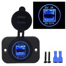 Wasserdicht Motorrad Auto 5V 3.1A Blau LED Dual USB Steckdose für Phone