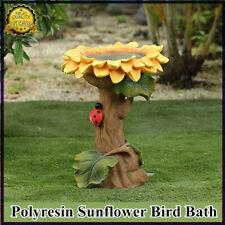 Handmade Resin Sunflower Bird Bath Brown Green Polyresin Bird Bath and Feeder