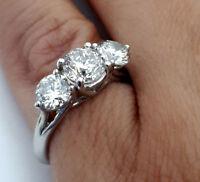 2.10 CTW DIAMOND THREE STONE ENGAGEMENT RING F VS2 18K WHITE GOLD
