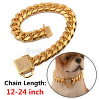 24''PET PUPPY DOG CHAIN COLLAR PUNK GOLD CAT WIDE NECKLACE COLLAR   ~