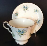 Royal Windsor Pedestal Tea Cup And Saucer - White - Blue Chintz Roses - England