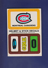 Montreal Canadiens Helmet Decals Insert 1979-80 TOPPS Hockey Puck/Goalie/0 (EX+)