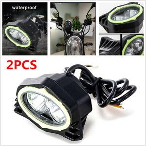 2PCS Motorcycle LED Spotlight Focused Rearview Mirror Beam Driving Working Lamp