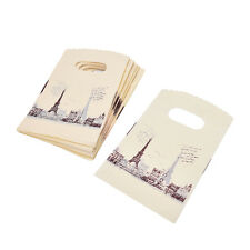 100pcs Yellow Eiffel Tower Packaging Bags Plastic Shopping Bags With Handle NCTE