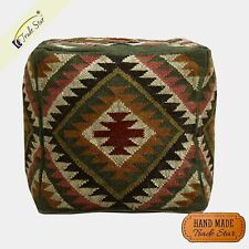 "Indian Kilim Ottoman Pouf Cover Vintage Handmade Footstool Case 18"" Pouffe Cover"