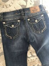 Womens MEK Buckle  blue Denim Jeans NOIDA Slim Boot Low Size 28/32  EUC!