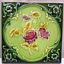 TILE ENGLAND ART NOUVEAU MAJOLICA PORCELAIN ROSE DESIGN ARCHITECTURE VINTAGE#135