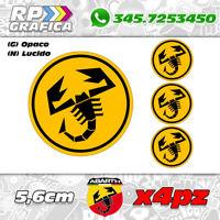 KIT 4 ADESIVI ABARTH COPRI MOZZO sticker FIAT 500 595 695 yellow & black