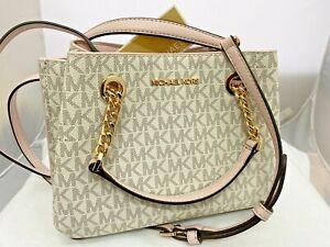 New Michael Kors Teagen MK Signature Small Vanilla Pink Messenger Bag