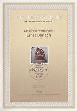 TIMBRE FDC ALLEMAGNE  BERLIN  OBL ERSTTAGSBLATT ERNST BARLACH SCULPTEUR 1988