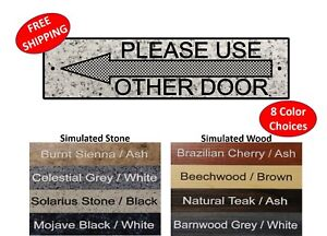 """Please Use Other Door sign 2"""" x 8"""" - FREE SHIPPING"""