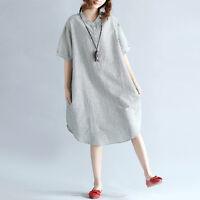 Korean Summer Oversized Women Short Sleeve Casual Loose Striped Shirt Dress Plus