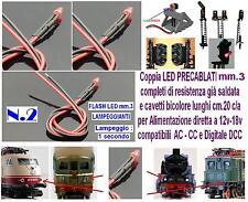 N.2 MICRO LED LAMPEGGIANTI 12V DC e DCC mm.2 ROSSI CABLATI SEMAFORI - LOCOMOTORI