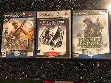 3 PLAYSTATION 2 PS2 GAMES MEDAL OF HONOR FRONTLINE +RISING SUN +EUROPEAN ASSAULT