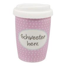 Mea Living Schwesterherz Schwester Coffee to Go Becher Thermo Porzellan