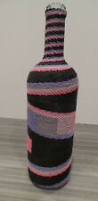 "12"" Handmade Woven Telephone Wire Vase Wrapped Bottle South Africa Zulu Glass"
