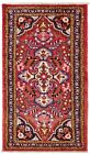 2.6 x 4 Hand Knotted Tribal Reds Blues Wool Nomadic Hamedan Area Oriental Rug