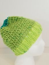 Hand Made Lime Green KNIT HAT w/Blue Women's  NEW  Beanie Winter Home Made