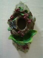 "Outdoor Decor Resin Bird House Tree Trunk Shape Butterfly Berries Detail 13""x 6"""