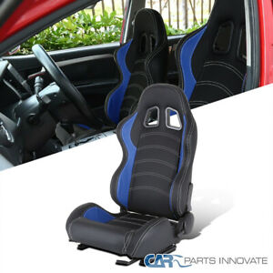 Driver Side Black/Blue PVC Leather White Stitch Reclinable Racing Seat w/ Slider
