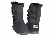 Sheepskin UGG boots 2 Buttons Woman Size 4 Colour Black Australia Made
