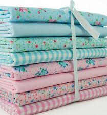 8 x Fat Quarters - Pink & Blue Mix Floral/Gingham - Polycotton Fabric Remnants