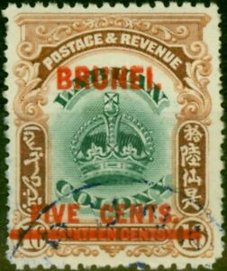 Brunei 1906 5c on 16c Green & Brown SG16 Very Fine Used