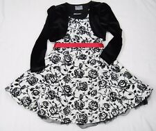 Little Girls Christmas Dress Size 4 Black and White Velveteen Bolero Jacket Cute